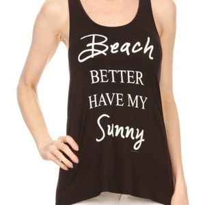 Beach Graphic Tank - BLACK